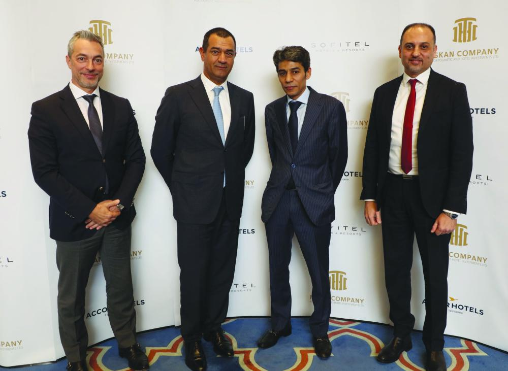 (Left to Right) Francois Baudin, senior vice president development, luxury hotels Europe, Middle East & Africa, Development, AccorHotels; Sami Nasser, chief operating officer, luxury brands, Middle East, AccorHotels; Sami Elmabruk, chairman, Iskan Co. for Touristic & Hotel Investments; Fateh Elgadi, CEO, Iskan Co. for Touristic & Hotel Investments. — Courtesy photo