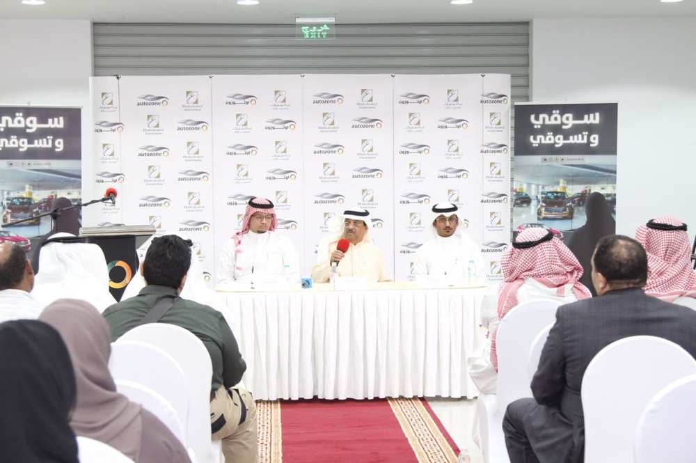 Autozone-Balubaid officials at the launch of the first comprehensive automotive showroom in Kingdom. — Courtesy photos