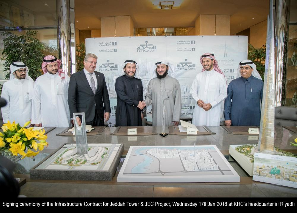 JEC signs the infrastructure agreement with Al-Fouzan General Contracting Company on Tuesday. — Courtesy photo