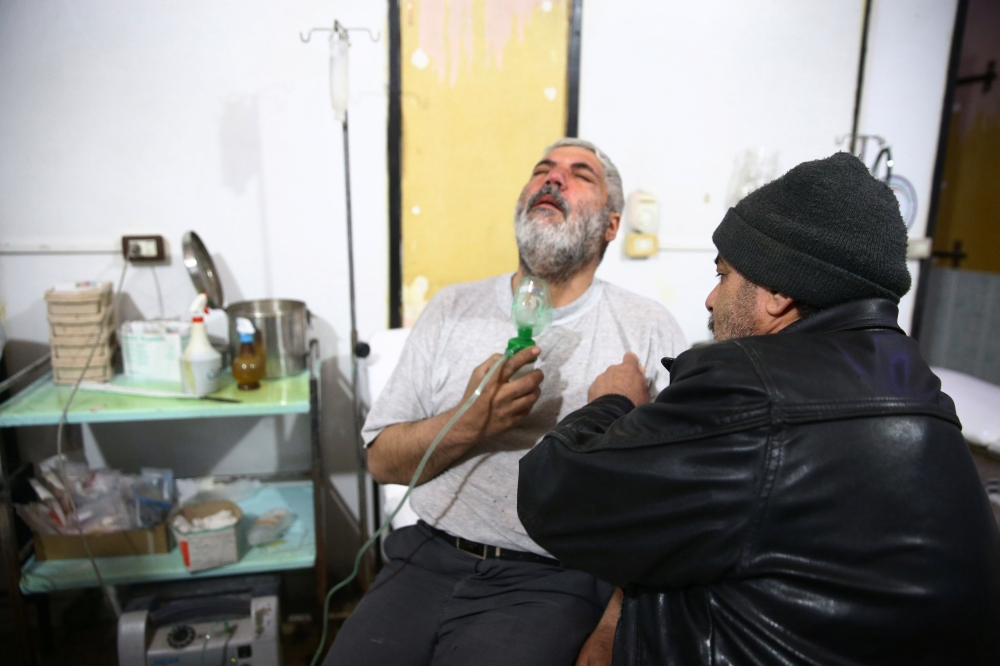 A man is seen at a medical center in Douma Eastern Ghouta in Damascus on Monday. — Reuters