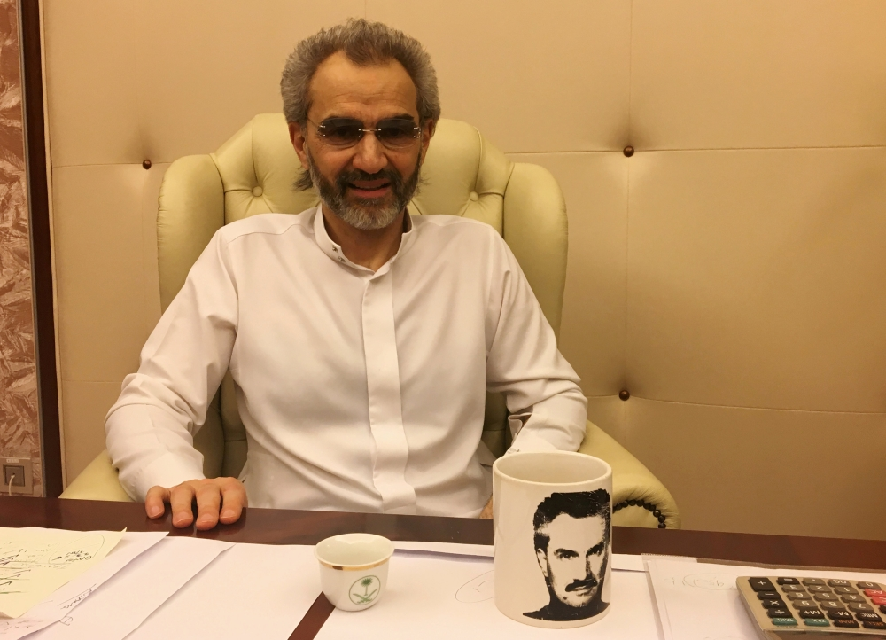 Prince Alwaleed Bin Talal gives an interview to Reuters in the office of the suite at the Ritz-Carlton in Riyadh before he was released on Saturday. — Reuters