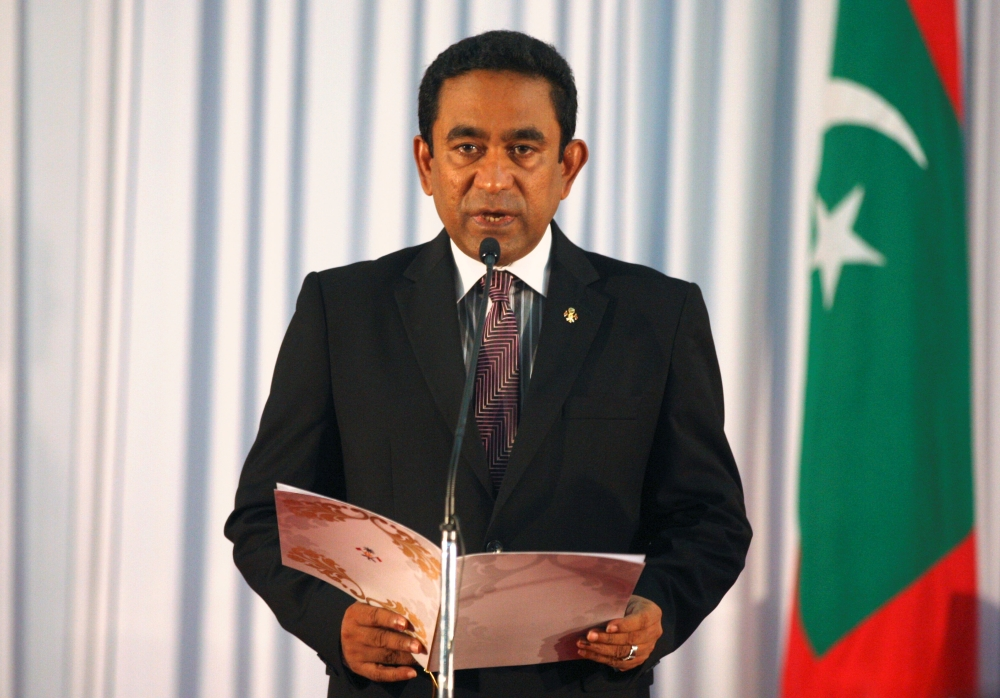Abdulla Yameen takes his oath as the president of Maldives during a swearing-in ceremony at the parliament in Male in this Nov. 17, 2013 file photo. — Reuters