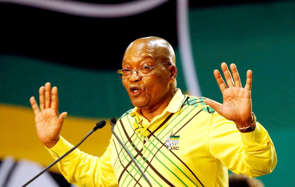 President of South Africa Jacob Zuma gestures to his supporters at the 54th National Conference of the ruling African National Congress in Johannesburg, South Africa, in this Dec. 16, 2017 file photo. — Reuters