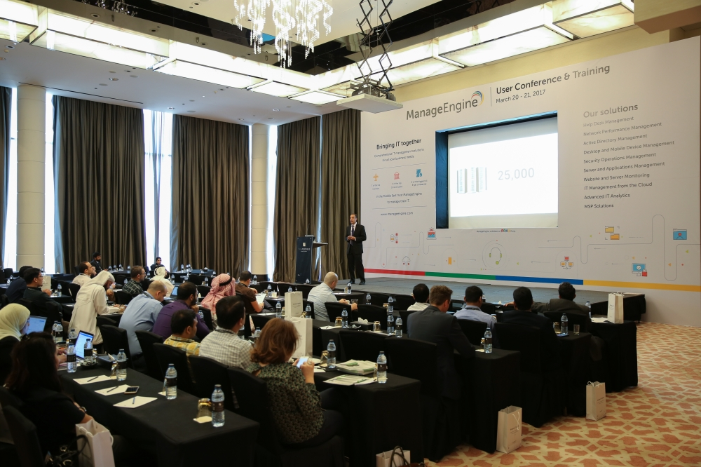 File photo shows Raj Sabhlok addressing partners, customers and visitors at the Middle East User Conference.