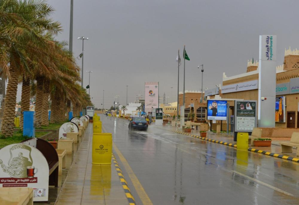 The rain-soaked streets on Saturday in the Janadriya village on the outskirts of Riyadh where the 32nd Heritage and Culture Festival is taking place. — SPA