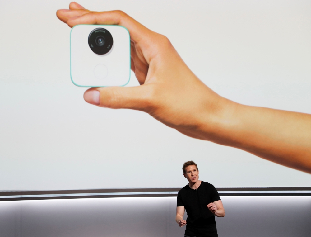 Google product manager Juston Payne speaks about the Google Clips camera during a launch event in San Francisco, California, US, on Oct. 4, 2017. — Reuters