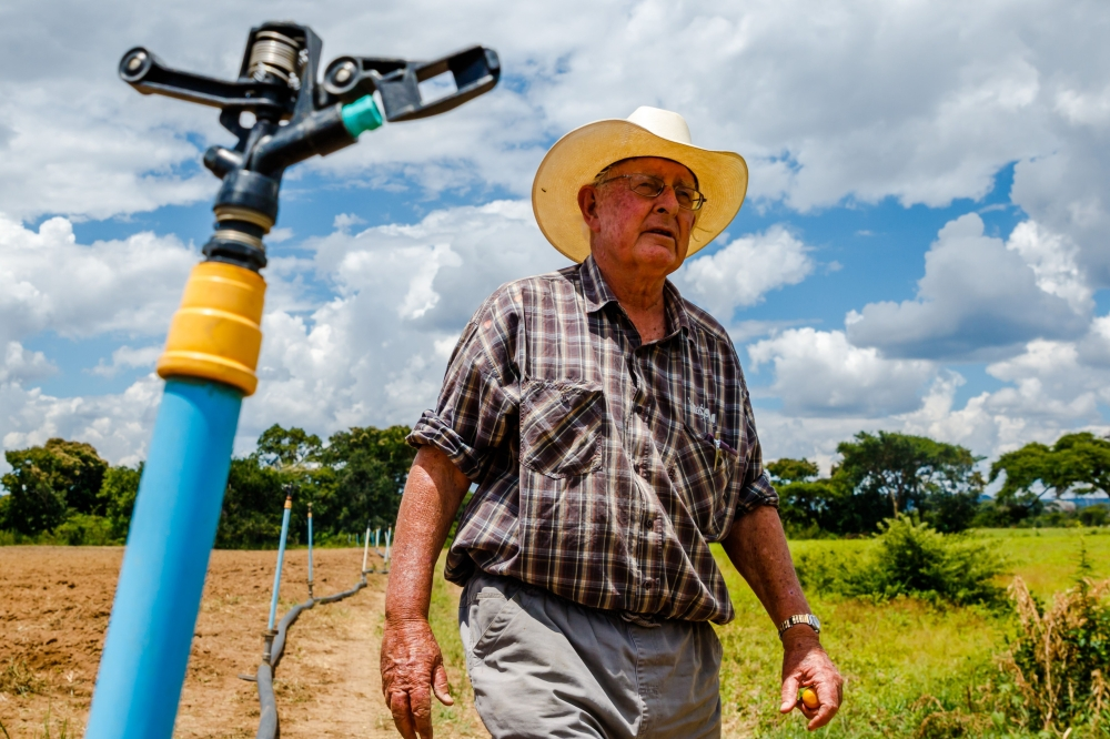 Zimbabwean commercial farmer Rob Smart inspects irrigation pipes for a potato crop at Lesbury Estates farm in Headlands east of the capital Harare. — AFP