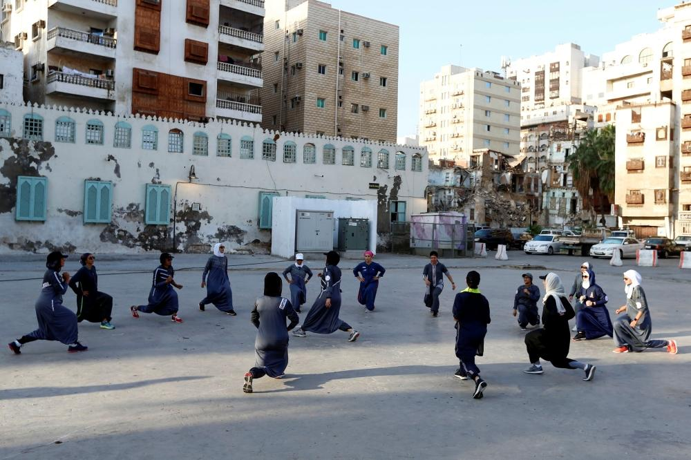 Women Exercise During A Running Event Marking International Womens Day In Old Jeddah Saudi Arabia