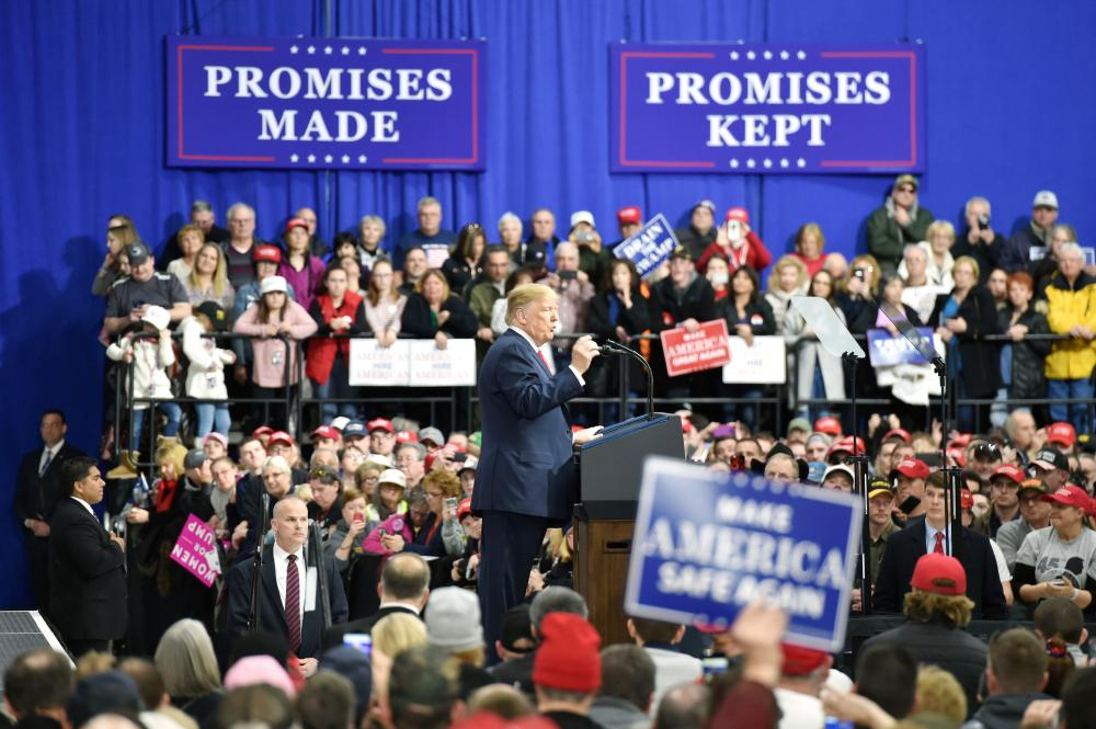 US President Donald Trump delivers a speech at the Make America Great Again Rally in Moon Township Pennsylvania on Saturday. — AFP