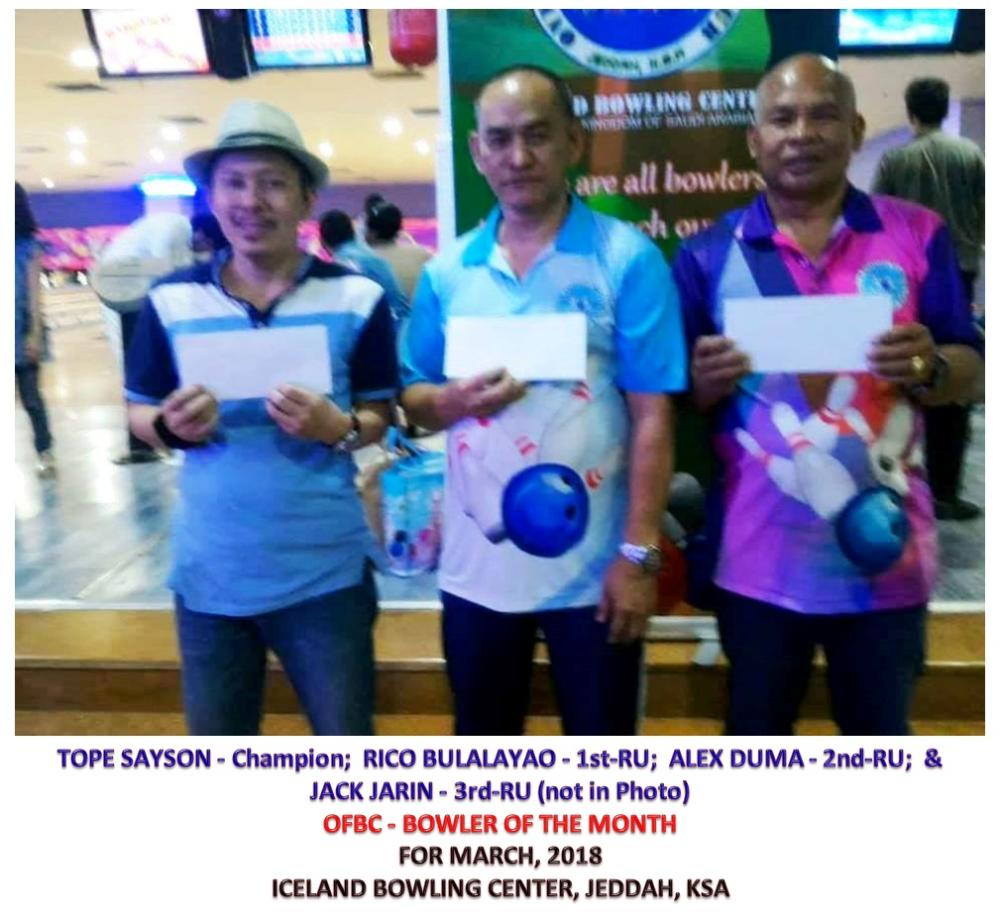 Bowler of the Month men's champion for March Tope Sayson (L) with first runner-up Rico Bulalayao and second runner-up Alex Duma.
