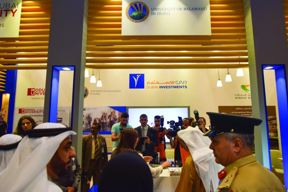 Lt. Gen.l Dhahi Khalfan Tamim, deputy chairman of police and general security in Dubai, at Dubai Investments stand in Innovation Arabia. — Courtesy photo