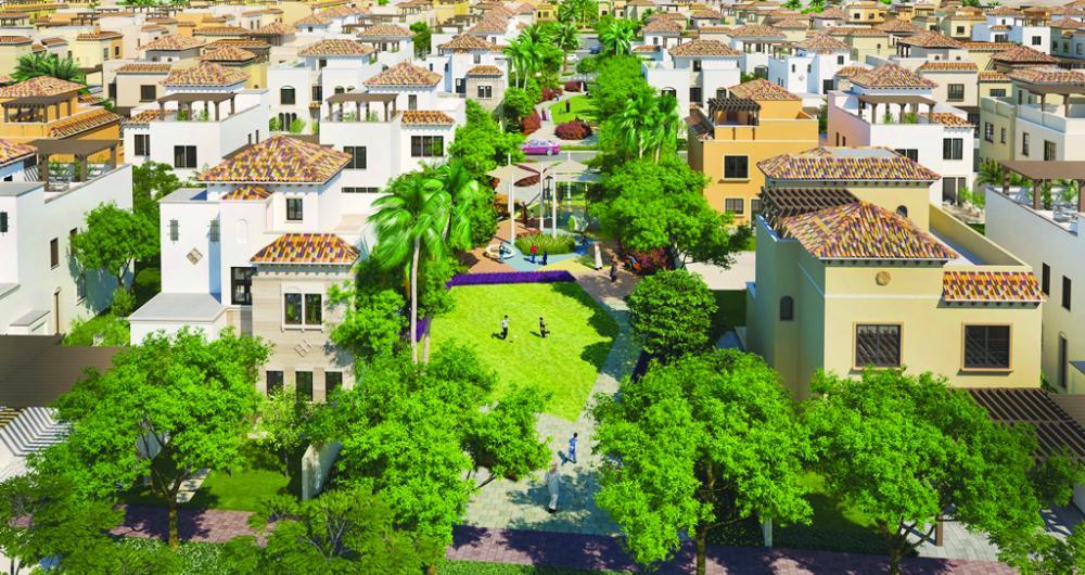 An aerial rendition of Al-Hijaz Miram Housing Project in King Abdullah Economic City