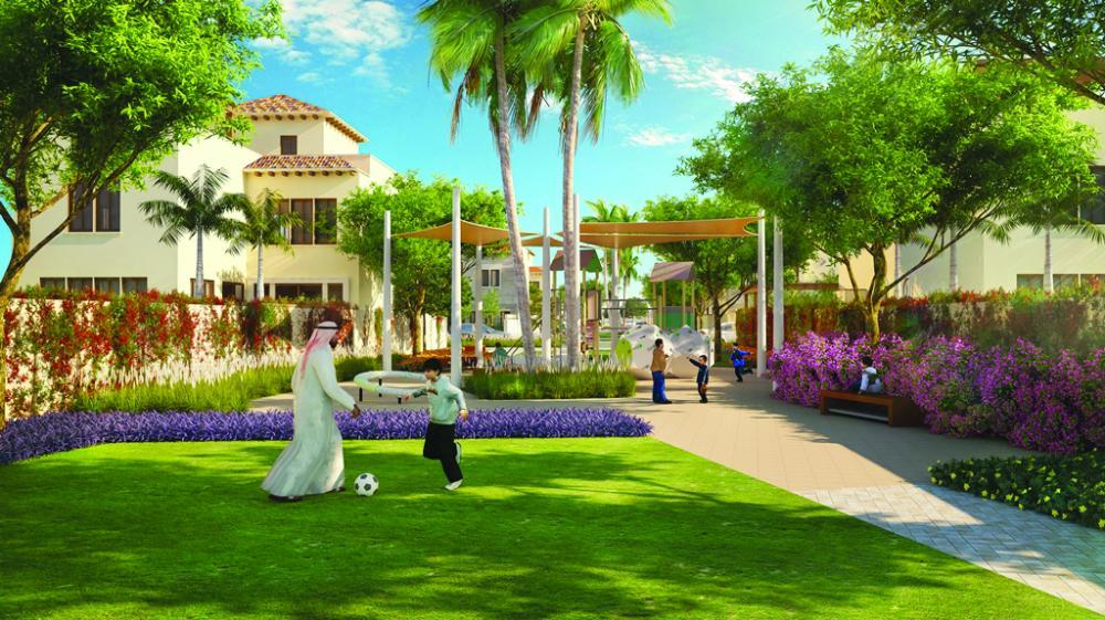 Community close up rendition of  Al-Hijaz Miram Housing Project in King Abdullah Economic City.