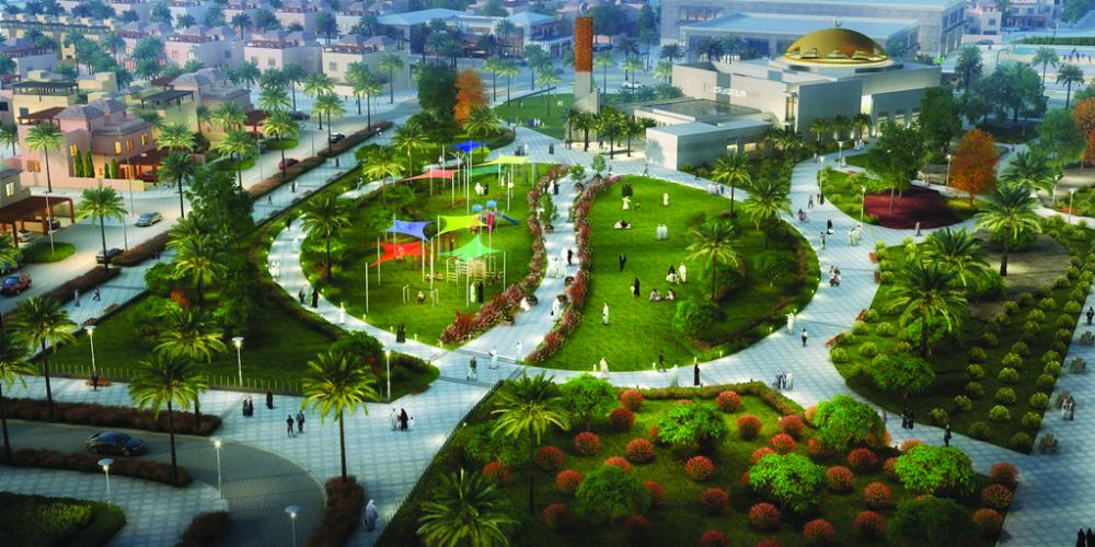 A park view rendition of Al-Hijaz Miram Housing Project in King Abdullah Economic City.