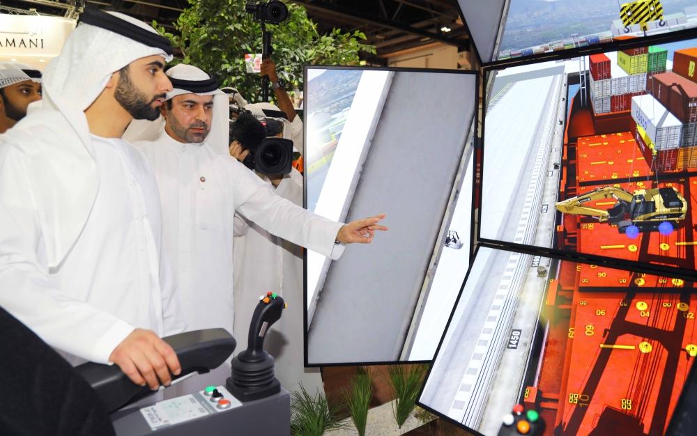 Sheikh Mansour Bin Mohammed Bin Rashid Al Maktoum visits DP World stand. — Courtesy photo