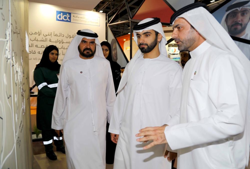 Sheikh Mansour Bin Mohammed Bin Rashid Al Maktoum visits DP World stand.