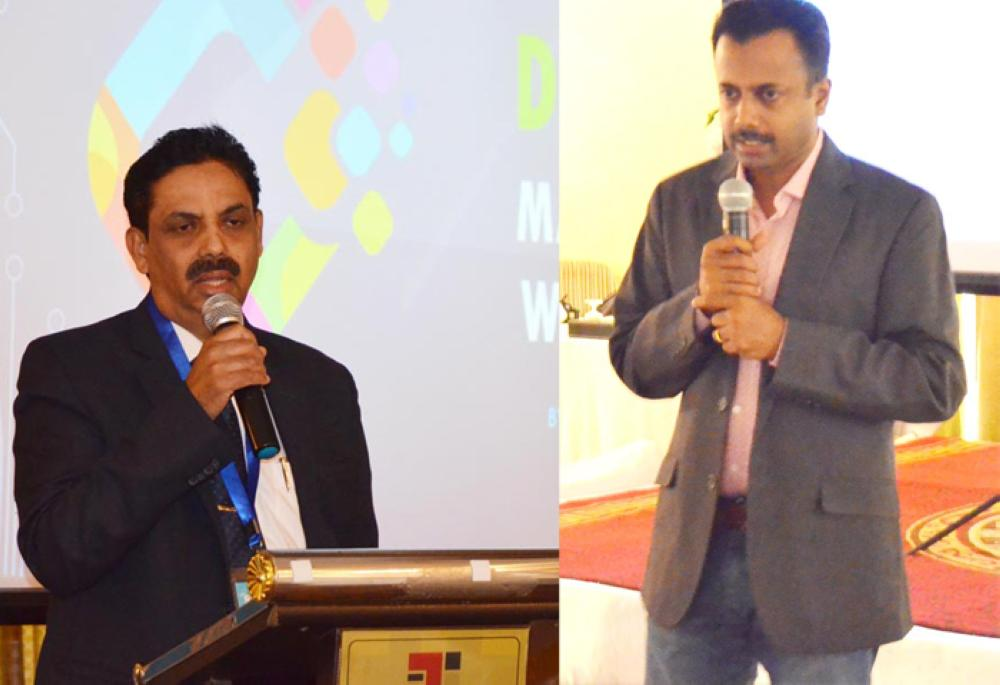 V.P Mohammed Ali, chairman and managing director of Jeddah National Hospital, inaugurates a workshop on digital marketing in Jeddah. On right, Tony John speaking on digital marketing. — Courtesy photos