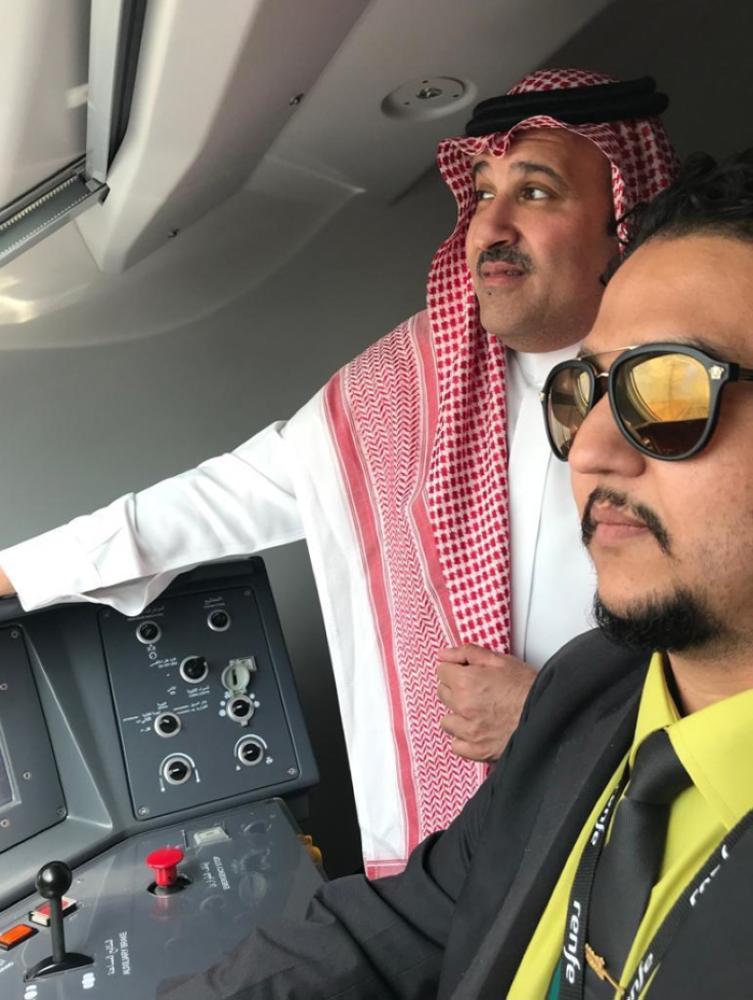 Prince Faisal Bin Salman, emir of Madinah region, on board the Haramain High Speed Train.— SPA