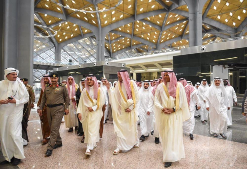 Prince Faisal Bin Salman, emir of Madinah region, tours Haramain Railway Station during his travel from Madinah to Makkah on board the Haramain High Speed Train on Friday. — SPA