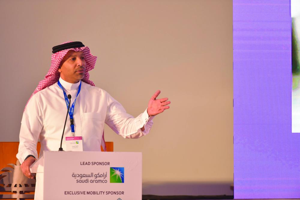 Yasser Mufti Saudi Aramco VP speaks at the Women In Leadership Forum Riyadh. — Courtesy photo