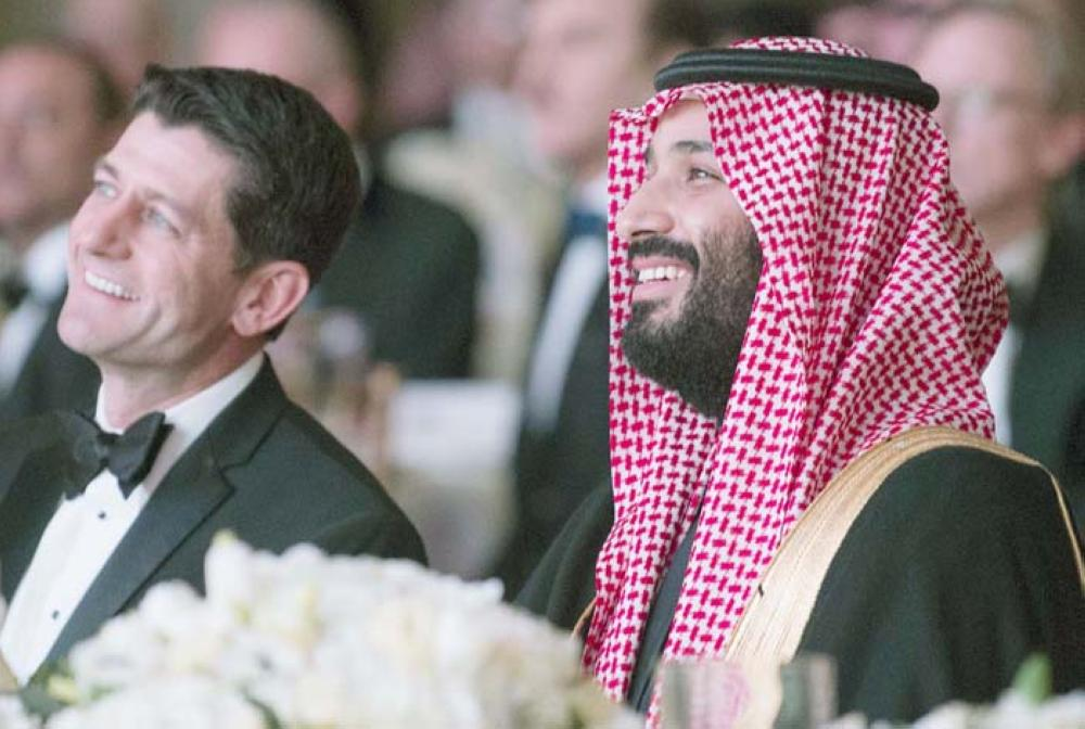 Crown Prince Muhammad Bin Salman, deputy premier and minister of defense, and US Speaker of the House, Paul Ryan, Republican of Wisconsin, attending the Saudi-US Partnership Gala event in Washington, DC on Thursday.  — AFP