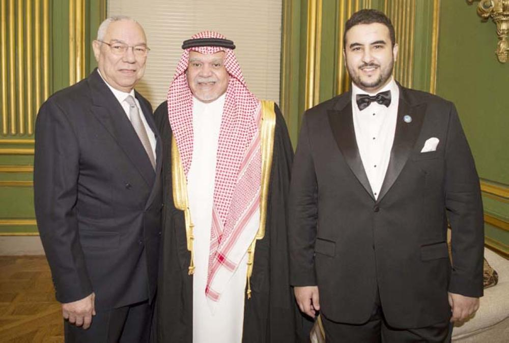Picture shows current Saudi Ambassador to the United States Prince Khaled Bin Salman (R) with the former ambassador Prince Bandar Bin Sultan (C) and former US Secretary of State Colin Powell during the Saudi-US Partnership Gala event in Washington, DC, on Thursday. — AFP