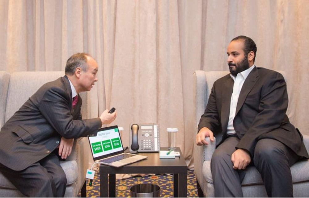 Crown Prince Muhammad Bin Salman, deputy premier and minister of defense, holds talks with SoftBank CEO Masayoshi Son in New York on Monday. - SPA