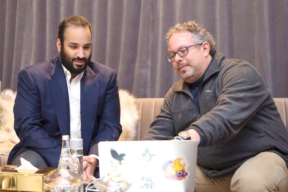 CEO of the augmented reality company Magic Leap Rony Abovitz briefs Crown Prince Muhammad Bin Salman on the company's products during a meeting in Los Angeles on Tuesday. — SPA
