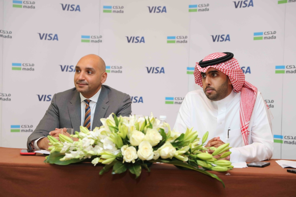 Ziad Al Yousef, General Manager of National Payments System – mada; and SADAD at the Saudi and Ahmed Gaber, Visa Group Country Manager for KSA, Bahrain, Kuwait and Oman, Visa during the press conference