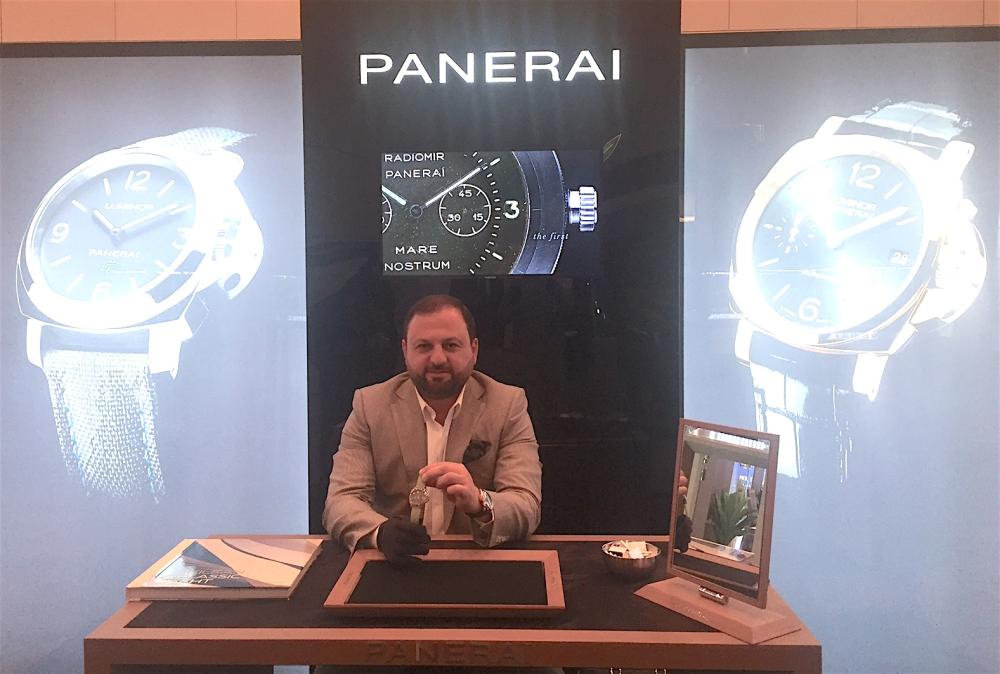 Milvin George Managing Director Middle East and India at Officine Panerai booth in Jewellery Salon Riyadh