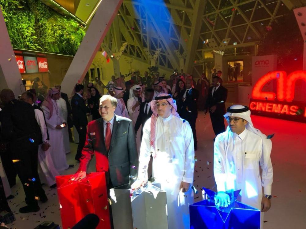 Minister of Culture and Information Awwad Alawwad inspecting the final preparations at the AMC Entertainment Cinema in the King Abdullah Financial District in Riyadh. — EPA