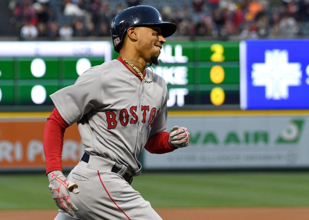 Mookie Betts, Andrew Benintendi power Red Sox to sweep against Angels