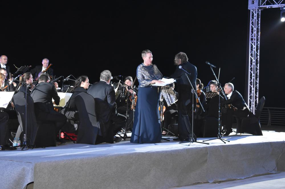 Opera singer Johanna Winkel takes center stage during the Open Air concert at the corniche in Jeddah.