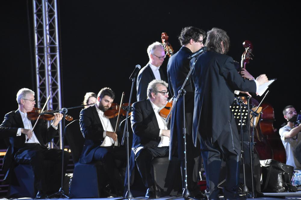 The Cologne Academy Orchestra playing in the corniche area on the coast of Red Sea.