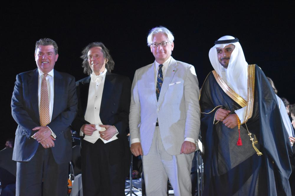 From right, Naif Al Ghamdi from the General Culture Authority, German Consul General Holger Ziegeler, Maestro Michael Alexander Willens and the US Consul General, at the concert. — SG photos by Abdulaziz Hammad.