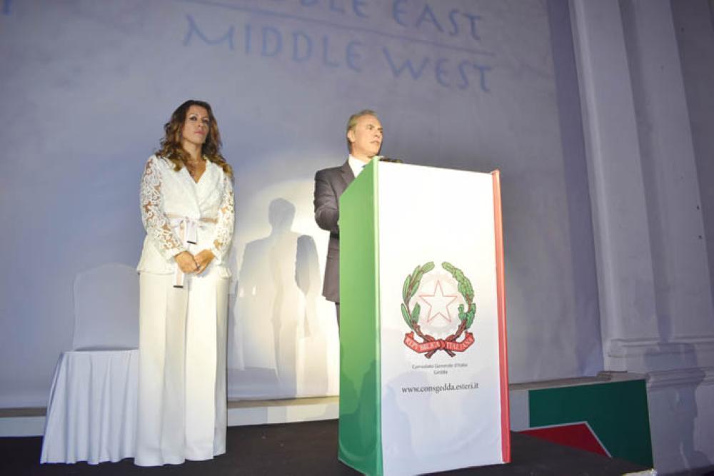 Italian Ambassador Luca Ferrari speaking at the event.