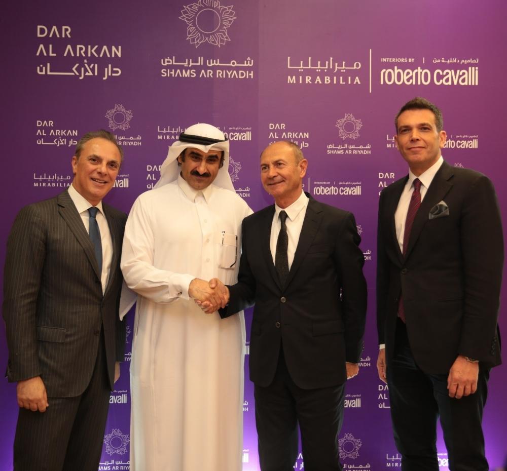 L-R: Italian Ambassador, Dar Al Arkan Chairman Yousef Bin Abdullah Al Shelash and Roberto Cavalli CEOGian Giacomo Ferraris and Dar Al Arkan CEO. — Courtesy photo