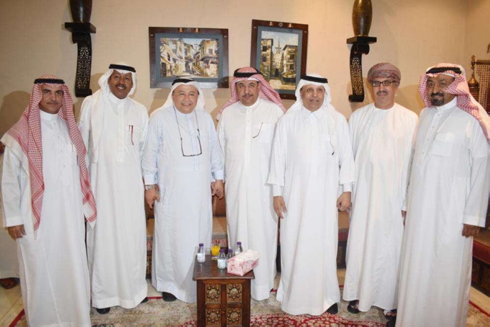 Saudi businessman Mohammed Al-Nefaie along with diplomats and businessmen, at his home.