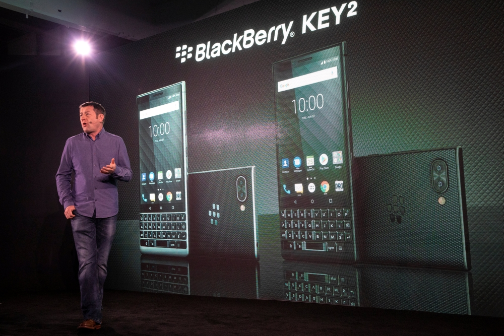 Gareth Hurn, Global Head of Device Portfolio for BlackBerry Mobile at TCL Communication introduces the new BlackBerry Key2 smartphone during a product launch event in Manhattan in New York, US, on Thursday. — Reuters