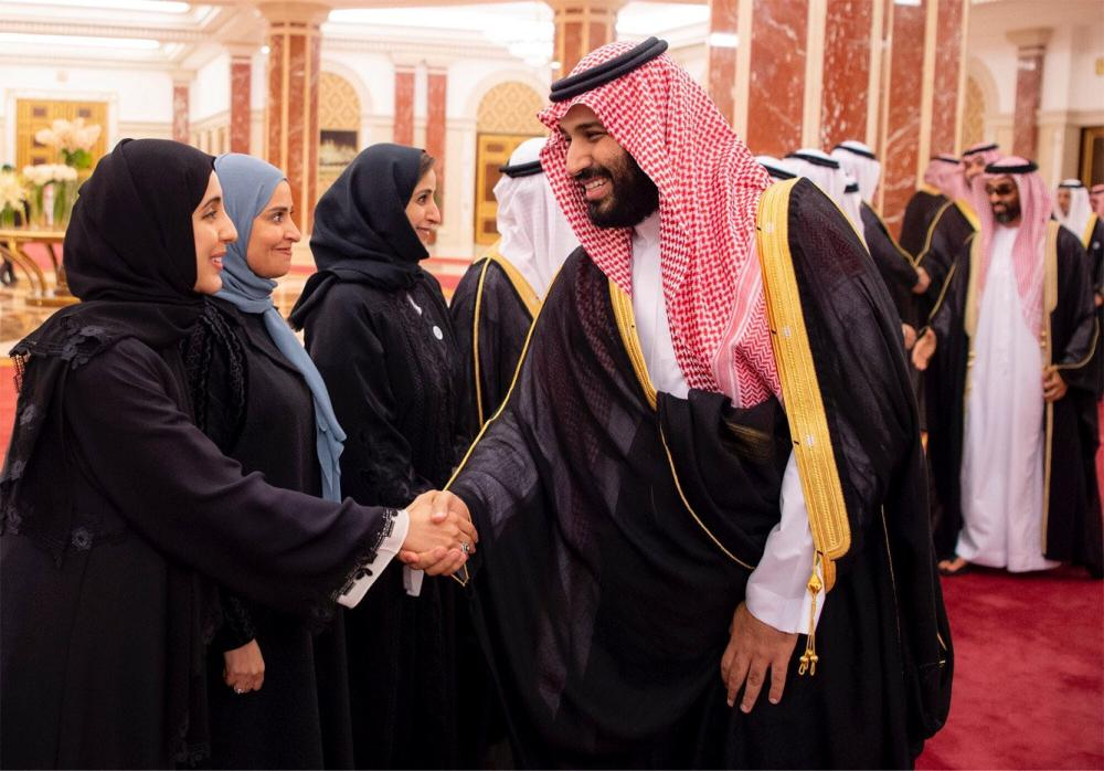 Crown Prince Muhammad Bin Salman, deputy premier and minister of defense, shakes hands with guests during Wednesday's Saudi-UAE Summit in Jeddah. — Reuters