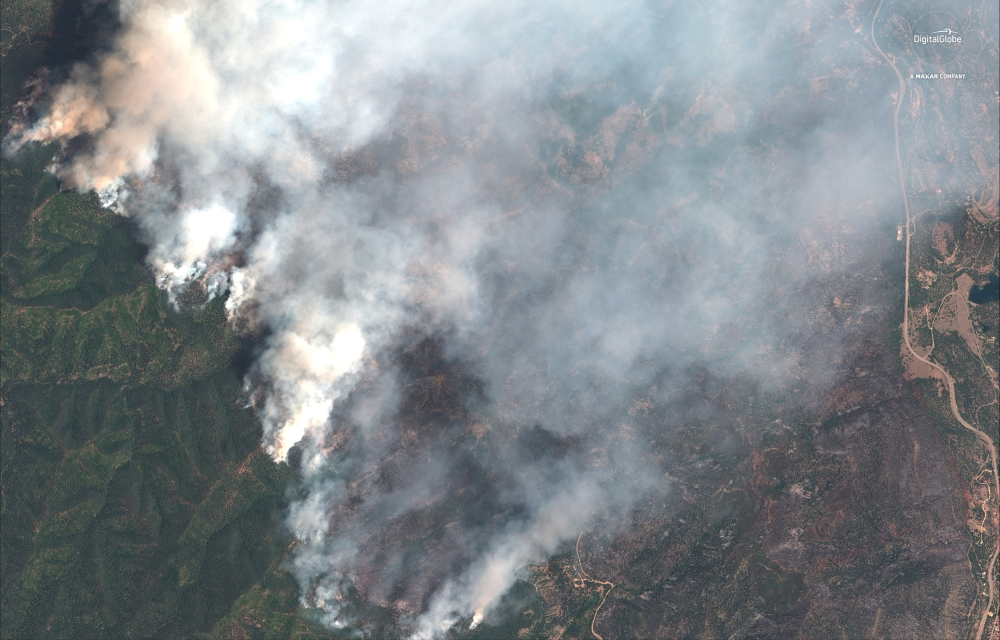 A satellite image shows the 416 Wildfire burning west of Highway 550 and northwest of Hermosa, Colorado, in this June 10, 2018 file photo. — Reuters