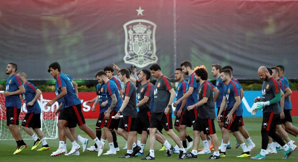Spain's national soccer team trains in Krasnodar, Russia, Thursday. — EPA