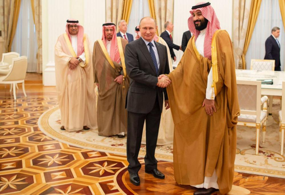 Russian President Vladimir Putin receiving Crown Prince Muhammad Bin Salman, deputy premier and minister of defense, in Moscow on Thursday. — SPA