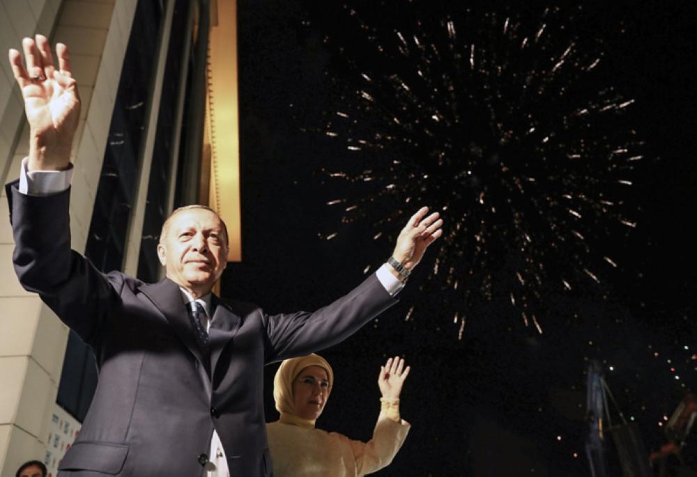 Turkish President Tayyip Erdogan and his wife Emine Erdogan