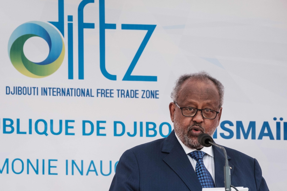 Djibouti's President Ismail Omar Guelleh delivers his speech during the inauguration ceremony of Djibouti International Free Trade Zone (DIFTZ) in Djibouti on Thursday. — AFP