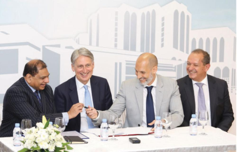From left:  Sanjay Shah, Executive Vice President, Fakeeh.Care; The Rt. Hon. Mr. Philip Hammond, Chancellor of the Exchequer;  Ahmad El Houri, General Manager, Serco Saudi Services;  and  Her Majesty's Ambassador Simon Collis
