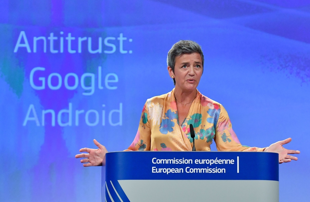 European Union  antitrust regulators fine Google record US$5 billion