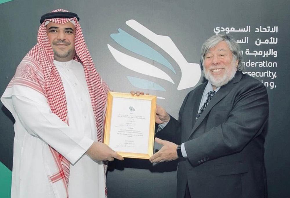 Apple co-founder Steve Wozniak being awarded a certificate as Ambassador of Saudi Tech Hub, at the conclusion if Hajj Hackaton in Jeddah on Friday.