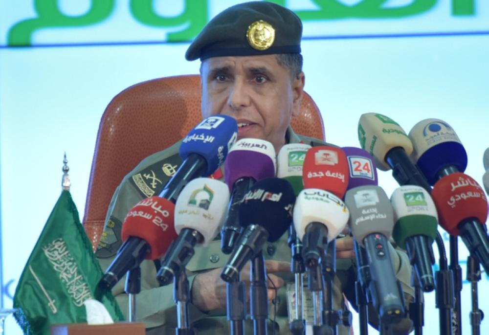 Maj. Gen. Sulaiman Al Yahya director general of the Directorate General of Passports speaking at a press conference in Jeddah on Thursday. — SG