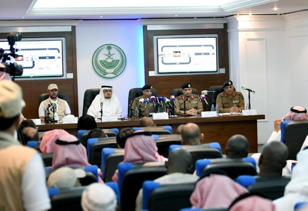 Maj. Gen. Mansour Al-Turki, security spokesman at the Ministry of Interior, and other officials attend a press conference at the Public Security headquarters in Mina on Saturday -SPA
